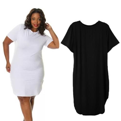 Fashion Women Loose Dress Round Neck Side Slit Casual T-shirt Mini Dress Black/WhiteApparel &amp; Jewelry<br>Fashion Women Loose Dress Round Neck Side Slit Casual T-shirt Mini Dress Black/White<br>