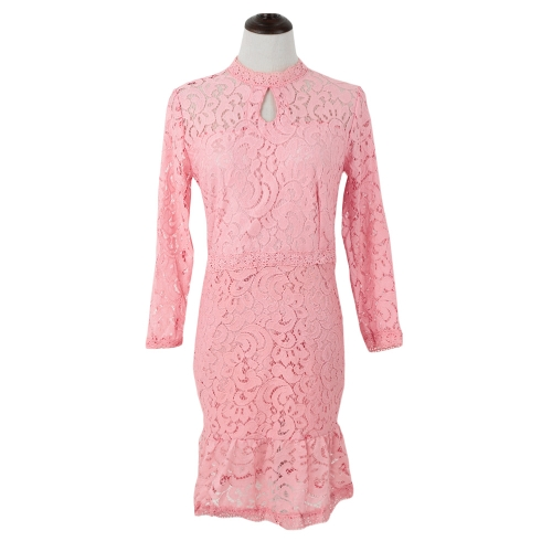 Fashion Women Lace Dress Keyhole Cut Zipper Back Long Sleeve Cocktail Evening Party Dress Pink/Rose/BlueApparel &amp; Jewelry<br>Fashion Women Lace Dress Keyhole Cut Zipper Back Long Sleeve Cocktail Evening Party Dress Pink/Rose/Blue<br>