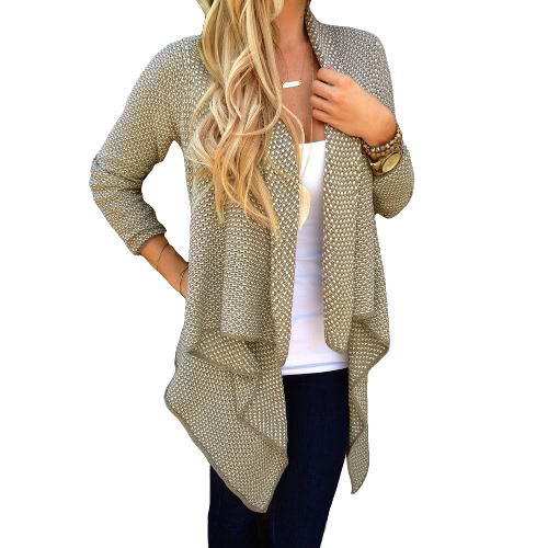 Stylish Waterfall Asymmetric Hem Long Sleeve Knitted Cardigan for WomenApparel &amp; Jewelry<br>Stylish Waterfall Asymmetric Hem Long Sleeve Knitted Cardigan for Women<br>