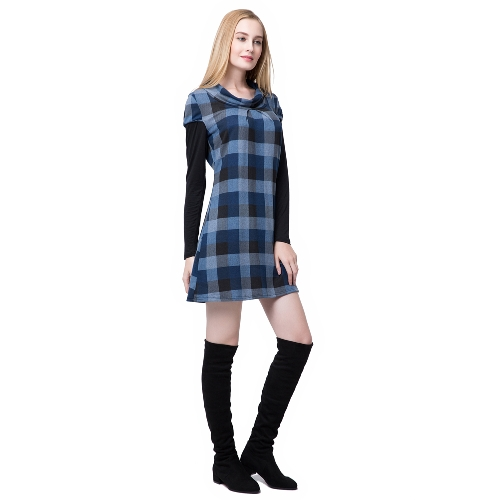 Casual Plaid Round Neck Long Sleeve Womens Mini DressApparel &amp; Jewelry<br>Casual Plaid Round Neck Long Sleeve Womens Mini Dress<br>