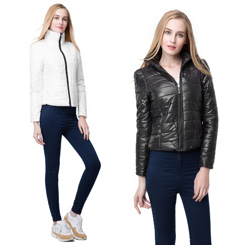 New Fashion Women Down Jacket Turtle Neck Zipper Side Pockets Long Sleeve Slim Padded Coat Outerwear Black/WhiteApparel &amp; Jewelry<br>New Fashion Women Down Jacket Turtle Neck Zipper Side Pockets Long Sleeve Slim Padded Coat Outerwear Black/White<br>