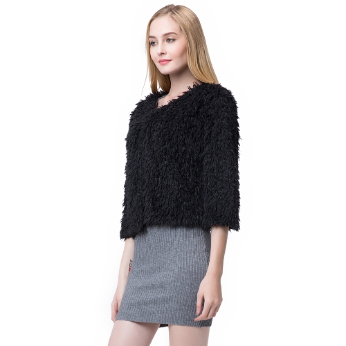 New Women Winter Fluffy Shaggy Coat Faux Fur Round Neck 3/4 Sleeves Hook and Eye Outerwear White/BlackApparel &amp; Jewelry<br>New Women Winter Fluffy Shaggy Coat Faux Fur Round Neck 3/4 Sleeves Hook and Eye Outerwear White/Black<br>