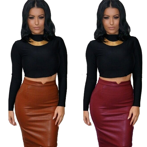 Europe Sexy Women Skirt PU Leather Solid Color Midi Pencil Skirts OL Casual Slim Clubwear BurgundyApparel &amp; Jewelry<br>Europe Sexy Women Skirt PU Leather Solid Color Midi Pencil Skirts OL Casual Slim Clubwear Burgundy<br>