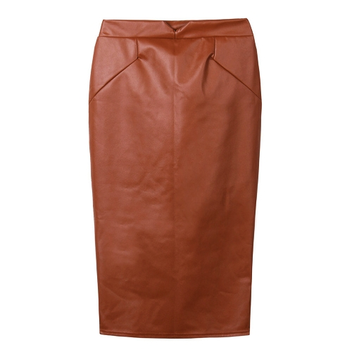 Europe Sexy Women Skirt PU Leather Solid Color Midi Pencil Skirts OL Casual Slim Clubwear CoffeeApparel &amp; Jewelry<br>Europe Sexy Women Skirt PU Leather Solid Color Midi Pencil Skirts OL Casual Slim Clubwear Coffee<br>