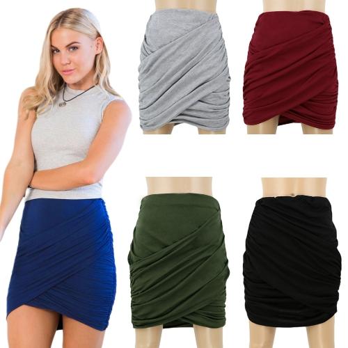 New Fashion Women Skirt Fold Stretch Waist Wrap Front Asymmetric Hem Elastic Clubwear Sexy Mini SkirtApparel &amp; Jewelry<br>New Fashion Women Skirt Fold Stretch Waist Wrap Front Asymmetric Hem Elastic Clubwear Sexy Mini Skirt<br>