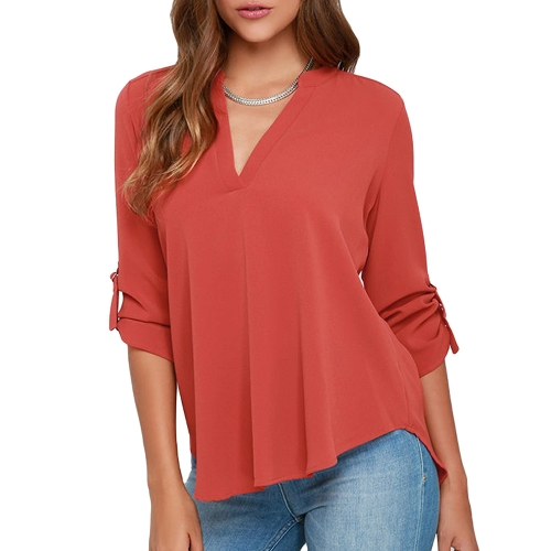 New Women Chiffon Blouse V Neck D-Ring Tab Long Sleeves Shirt Casual Top Grey/Watermelon RedApparel &amp; Jewelry<br>New Women Chiffon Blouse V Neck D-Ring Tab Long Sleeves Shirt Casual Top Grey/Watermelon Red<br>