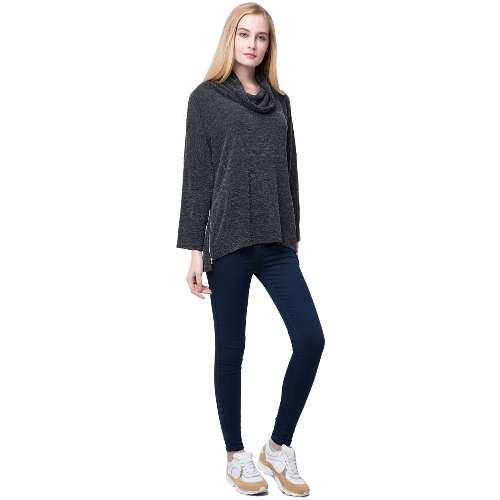 Europe Women Slouchy T-shirt High Roll Neck Side Zipper Irregular Hem Loose Tees Tops Knitted PulloverApparel &amp; Jewelry<br>Europe Women Slouchy T-shirt High Roll Neck Side Zipper Irregular Hem Loose Tees Tops Knitted Pullover<br>