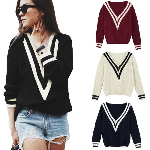 Fashion Women Knitted Sweater Deep V Neck Contrast Stripe Long Sleeve Pullover Weave KnitwearApparel &amp; Jewelry<br>Fashion Women Knitted Sweater Deep V Neck Contrast Stripe Long Sleeve Pullover Weave Knitwear<br>