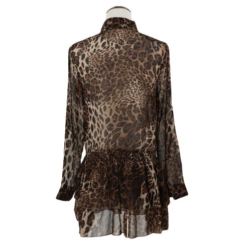 Fashion Women Chiffon Mini Dress Leopard Turn-down Collar Long Sleeve Elastic Waist Layered Dress BrownApparel &amp; Jewelry<br>Fashion Women Chiffon Mini Dress Leopard Turn-down Collar Long Sleeve Elastic Waist Layered Dress Brown<br>