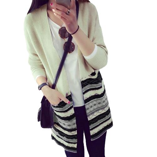 New Women Knitted Cardigan Contrast Stripe Geometry Pockets Long Loose Outerwear Warm Sweater Knitwear Grey