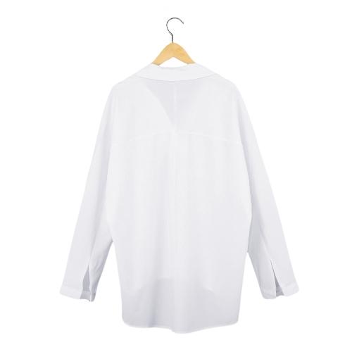 New Fashion Women Shirt Turn-down Collar V-Neck Long Sleeve Loose Top Blouse White/Dark Blue/KhakiApparel &amp; Jewelry<br>New Fashion Women Shirt Turn-down Collar V-Neck Long Sleeve Loose Top Blouse White/Dark Blue/Khaki<br>