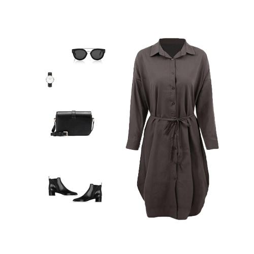 New Women Shirt Dress Turn Down Collar Long Sleeve Button Placket Side Slits Casual Midi Dress Grey/WhiteApparel &amp; Jewelry<br>New Women Shirt Dress Turn Down Collar Long Sleeve Button Placket Side Slits Casual Midi Dress Grey/White<br>