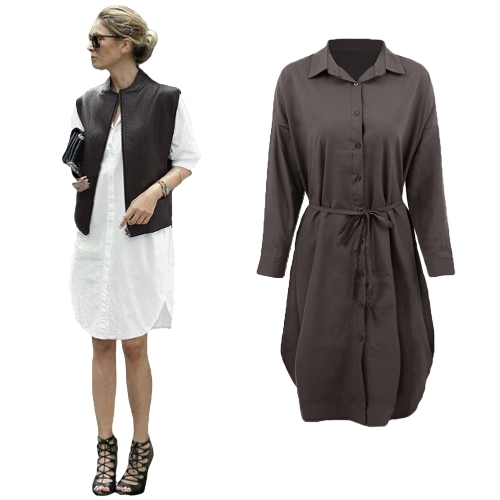 New Women Shirt Dress Turn Down Collar Long Sleeve Button Placket Side Slits Casual Midi Dress Grey/WhiteApparel &amp; Jewelry<br>New Women Shirt Dress Turn Down Collar Long Sleeve Button Placket Side Slits Casual Midi Dress Grey/White<br>