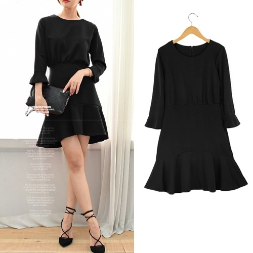 Fashion Women Flare Dress Round Neck 3/4 Sleeve Back Zipper Solid Color Mini Dress Red/Black/Grey