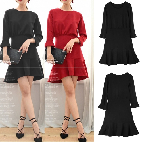 Fashion Women Flare Dress Round Neck 3/4 Sleeve Back Zipper Solid Color Mini Dress Red/Black/GreyApparel &amp; Jewelry<br>Fashion Women Flare Dress Round Neck 3/4 Sleeve Back Zipper Solid Color Mini Dress Red/Black/Grey<br>
