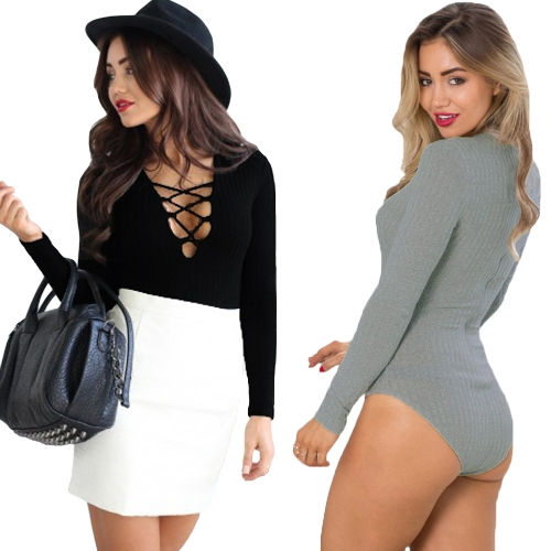 New Women Sexy Bodysuit Criss Cross Deep V Neck Ribbed Tights Bodycon Jumpsuit Rompers Black/GreyApparel &amp; Jewelry<br>New Women Sexy Bodysuit Criss Cross Deep V Neck Ribbed Tights Bodycon Jumpsuit Rompers Black/Grey<br>