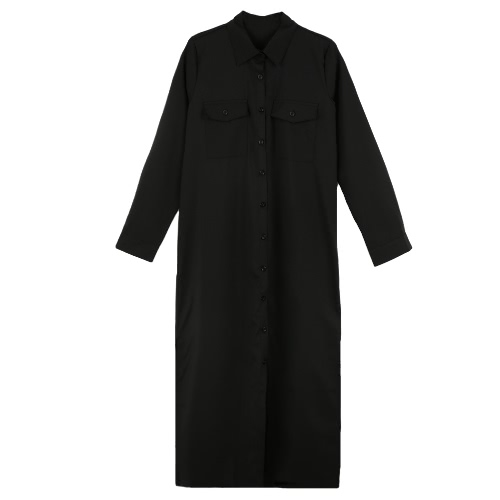 New Fashion Women Shirt Dress Turn Down Collar Long Sleeve Buttons Pockets Casual Loose One-pieceApparel &amp; Jewelry<br>New Fashion Women Shirt Dress Turn Down Collar Long Sleeve Buttons Pockets Casual Loose One-piece<br>