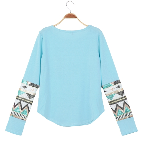 Women Casual T-Shirt Sequin Patchwork Long Sleeve Round Neck Blouse TopApparel &amp; Jewelry<br>Women Casual T-Shirt Sequin Patchwork Long Sleeve Round Neck Blouse Top<br>