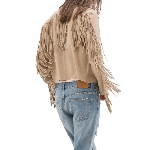 New Fashion Women Coat Faux Suede Tassel Fringe Long Sleeve Cardigan Outwear Slim Jacket Top Black/KhakiApparel &amp; Jewelry<br>New Fashion Women Coat Faux Suede Tassel Fringe Long Sleeve Cardigan Outwear Slim Jacket Top Black/Khaki<br>