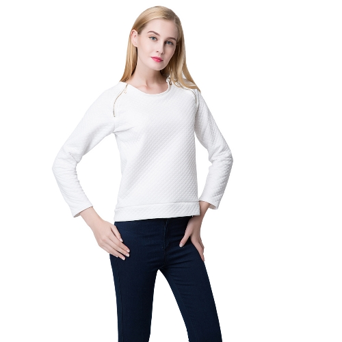Fashion Women Sweatshirt Double Zippers Long Sleeve Pullover Top WhiteApparel &amp; Jewelry<br>Fashion Women Sweatshirt Double Zippers Long Sleeve Pullover Top White<br>