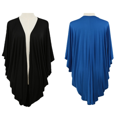 New Women Outerwear Open Front Batwing 3/4 Sleeves Street Style Loose Long Cardigan Coat Blue/BlackApparel &amp; Jewelry<br>New Women Outerwear Open Front Batwing 3/4 Sleeves Street Style Loose Long Cardigan Coat Blue/Black<br>