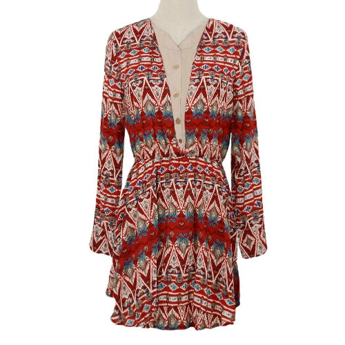 New Fashion Women Casual Patchwork Dress Ethnic Print Long Sleeve Button Ruffle Elastic Waist Red/Dark BlueApparel &amp; Jewelry<br>New Fashion Women Casual Patchwork Dress Ethnic Print Long Sleeve Button Ruffle Elastic Waist Red/Dark Blue<br>