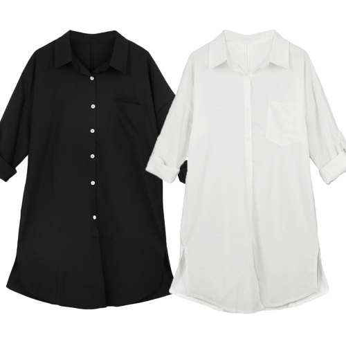 Fashion Women Casual Shirt Front Pocket Side Slit Turn-Down Collar Long Sleeves Blouse Tops White/BlackApparel &amp; Jewelry<br>Fashion Women Casual Shirt Front Pocket Side Slit Turn-Down Collar Long Sleeves Blouse Tops White/Black<br>