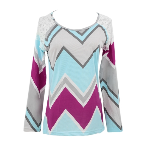 New Fashion Women T-Shirt Lace Patchwork Contrast Stripe Print Round Neck Casual Top RoseApparel &amp; Jewelry<br>New Fashion Women T-Shirt Lace Patchwork Contrast Stripe Print Round Neck Casual Top Rose<br>