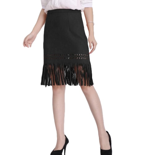 Vintage Faux Suede Hollow Out Slim Zipper Flapper Skirt for WomenApparel &amp; Jewelry<br>Vintage Faux Suede Hollow Out Slim Zipper Flapper Skirt for Women<br>