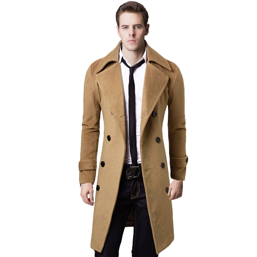Men's Stylish Trench Coat Winter Jacket Double Breasted Overcoat