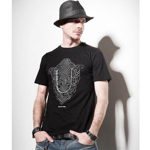 2013 imprimer de T-shirt col O T Shirt été Casual hommes manches courtes Tee Tshirt noir