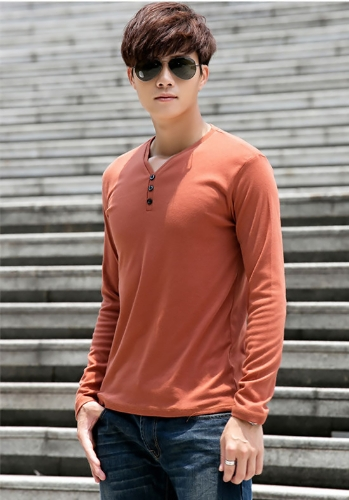 Fashion Men Slim T-Shirt Buttons V-Neck Long Sleeves Casual Tops Pullover Dark Orange