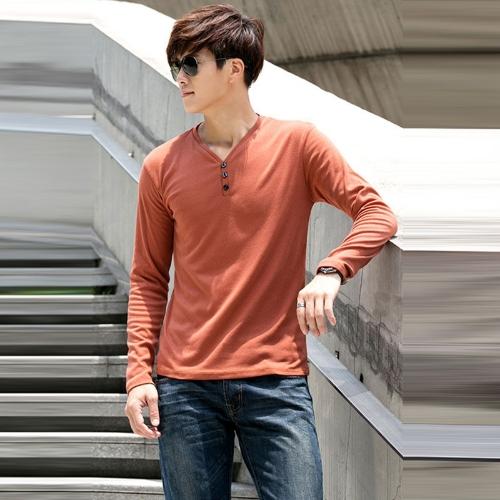 Fashion Men Slim T-Shirt Buttons V-Neck Long Sleeves Casual Tops Pullover Dark OrangeApparel &amp; Jewelry<br>Fashion Men Slim T-Shirt Buttons V-Neck Long Sleeves Casual Tops Pullover Dark Orange<br>