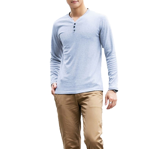 Fashion Men Slim T-Shirt Buttons V-Neck Long Sleeves Casual Tops Pullover GrayApparel &amp; Jewelry<br>Fashion Men Slim T-Shirt Buttons V-Neck Long Sleeves Casual Tops Pullover Gray<br>
