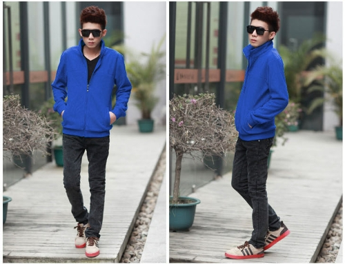 Fashion Men Thin Coat Stand Collar Long Sleeves Zipper Solid Color Casual Jacket Outerwear BlueApparel &amp; Jewelry<br>Fashion Men Thin Coat Stand Collar Long Sleeves Zipper Solid Color Casual Jacket Outerwear Blue<br>