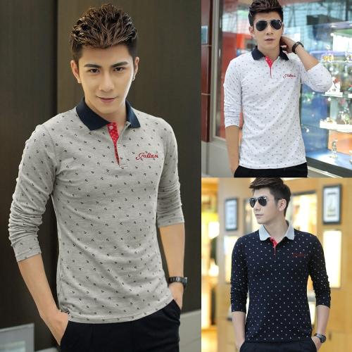 Fashion Casual Men T-Shirt Anchor Print Long Sleeves Turn Down Collar Slim TopsApparel &amp; Jewelry<br>Fashion Casual Men T-Shirt Anchor Print Long Sleeves Turn Down Collar Slim Tops<br>