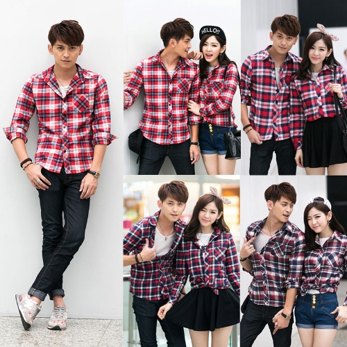 Korean Fashion Men Shirt Plaid Check Pattern Turn-down Collar Long Sleeve Pocket Casual Tops for CoupleApparel &amp; Jewelry<br>Korean Fashion Men Shirt Plaid Check Pattern Turn-down Collar Long Sleeve Pocket Casual Tops for Couple<br>