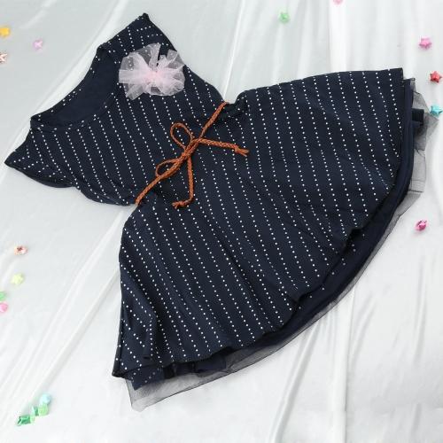 Moda niña vestido lunares malla Patchwork manga corta azul marino Vestido de la guarnición