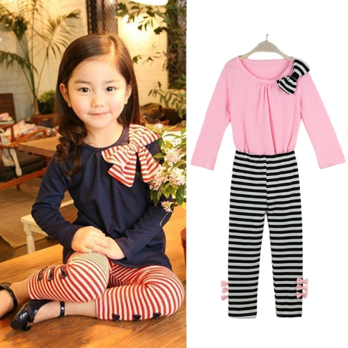 New Fashion Kids Girls Clothing Set Bowknot Pullover Tops Striped Pants Pink/Dark BlueApparel &amp; Jewelry<br>New Fashion Kids Girls Clothing Set Bowknot Pullover Tops Striped Pants Pink/Dark Blue<br>