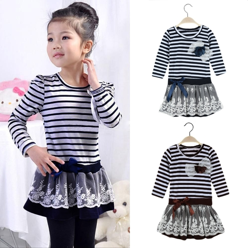 Fashion Kids Girl Dress Striped Ruffle Lace Bowknot Mesh Floral Round Neck Long Sleeve Princess Dresses Dark Blue/CoffeeApparel &amp; Jewelry<br>Fashion Kids Girl Dress Striped Ruffle Lace Bowknot Mesh Floral Round Neck Long Sleeve Princess Dresses Dark Blue/Coffee<br>