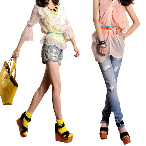 Moda mujeres chicas dulces colores correa ajustable de cintura baja estrecho cinturón delgado delgado PU cuero azul