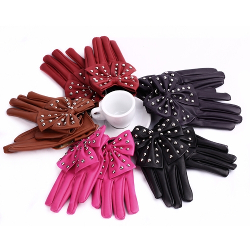 Fashion Elegant Women Gloves Soft PU Leather Bow Rivets Short Gloves BlackApparel &amp; Jewelry<br>Fashion Elegant Women Gloves Soft PU Leather Bow Rivets Short Gloves Black<br>