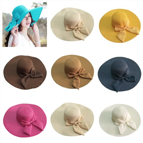 New Fashion Women Straw Floppy Hat Wide Brim Bow Foldable Sun Beach CapApparel &amp; Jewelry<br>New Fashion Women Straw Floppy Hat Wide Brim Bow Foldable Sun Beach Cap<br>