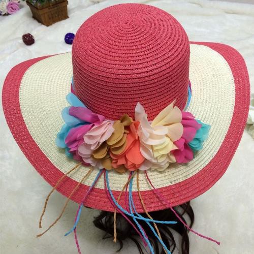 New Summer Women Straw Hat Wide Brim Colorful Flower Floppy Foldable Sun Beach Hat HeadwearApparel &amp; Jewelry<br>New Summer Women Straw Hat Wide Brim Colorful Flower Floppy Foldable Sun Beach Hat Headwear<br>