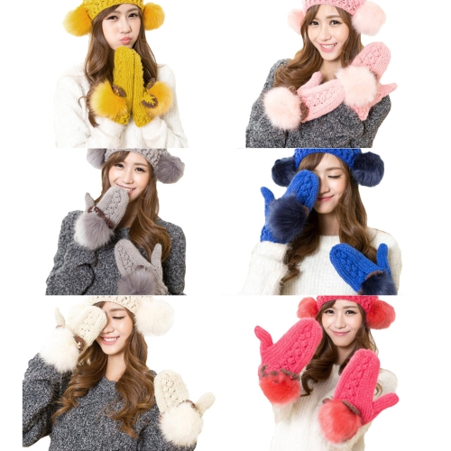 New Fashion Winter Women Knitted Mittens Contrast Color Faux Fur Cat Ears Warm GlovesApparel &amp; Jewelry<br>New Fashion Winter Women Knitted Mittens Contrast Color Faux Fur Cat Ears Warm Gloves<br>