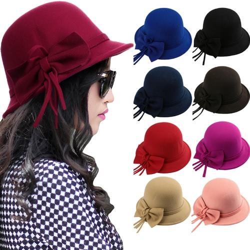New Fashion Women Fedora Hat Bowknot Decoration Wool Felt Bowler Derby Hat CapApparel &amp; Jewelry<br>New Fashion Women Fedora Hat Bowknot Decoration Wool Felt Bowler Derby Hat Cap<br>