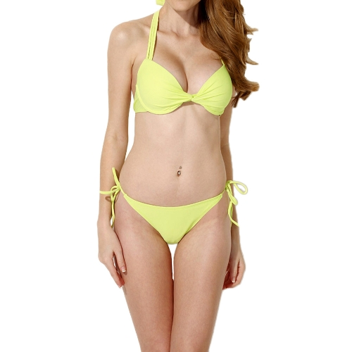 Fashion Women Sexy Bikini Set Halter Neck Padded Push Up Swimsuit Pink/YellowApparel &amp; Jewelry<br>Fashion Women Sexy Bikini Set Halter Neck Padded Push Up Swimsuit Pink/Yellow<br>