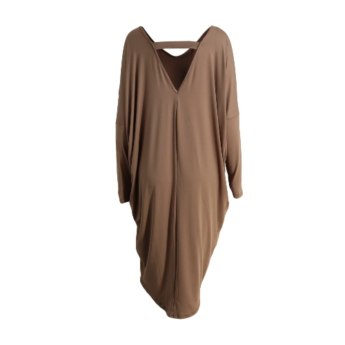 New Fashion Women Dress Hollow Out Solid Color Irregularity Hem V Neck Batwing Sleeve Elegant Party DressApparel &amp; Jewelry<br>New Fashion Women Dress Hollow Out Solid Color Irregularity Hem V Neck Batwing Sleeve Elegant Party Dress<br>