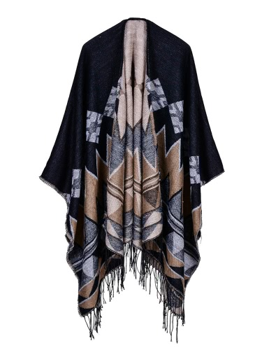 Fashion Women Poncho Cardigan Sweater Geometric Tassels Fringed Faux CashmereApparel &amp; Jewelry<br>Fashion Women Poncho Cardigan Sweater Geometric Tassels Fringed Faux Cashmere<br>
