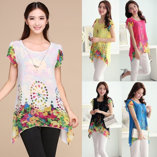 New Fashion Women Chiffon Blouse Floral Print Hollow Out Overlay Petal Sleeves Tops BlackApparel &amp; Jewelry<br>New Fashion Women Chiffon Blouse Floral Print Hollow Out Overlay Petal Sleeves Tops Black<br>